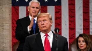 الرئيس الأمريكي دونالد ترامب يلقي خطابه عن حالة الاتحاد في الكونغرس في واشنطن، الثلاثاء 5 شباط/فبراير 2019