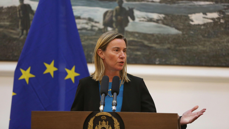 La jefa de la diplomacia europea, Federica Mogherini, ofrece una rueda de prensa en el Palacio Presidencial de Kabul, Afganistán, el 26 de marzo de 2019.