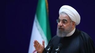 الرئيس روحاني خلال مؤتمر صحافي في طهران في 28 ك2/يناير 2017