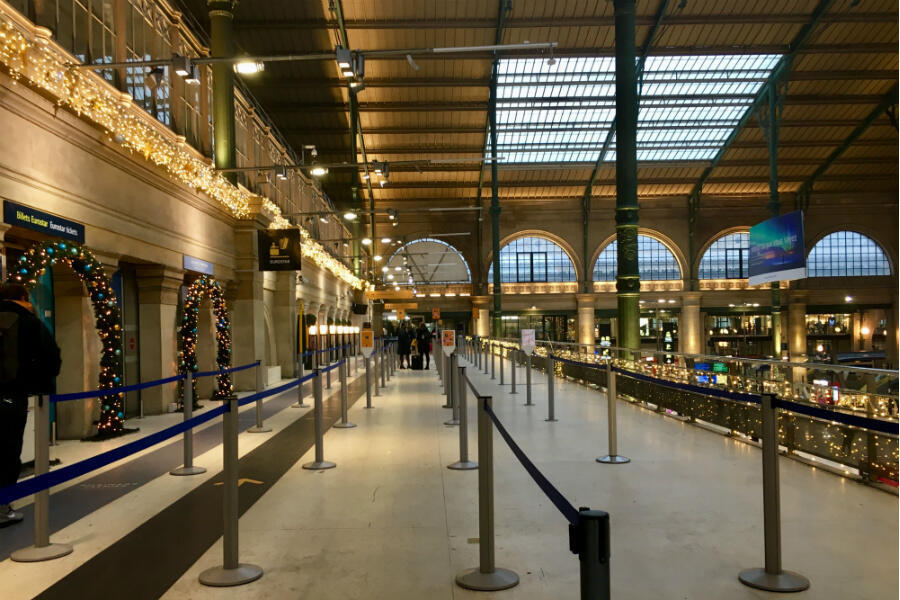 A festive but sparsely populated Eurostar check-in area at Paris's Gare du Nord as a mass strike begins across France over pension reforms on December 5, 2019.