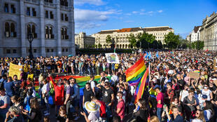 Over 5,000 people rallied outside Hungary's parliament to protest against homophobia and transphobia