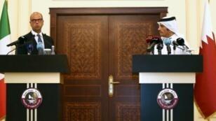 وزير الخارجية القطري ونظيره الايطالي في مؤتمر صحافي في الدوحة في 2 اب/اغسطس 2017
