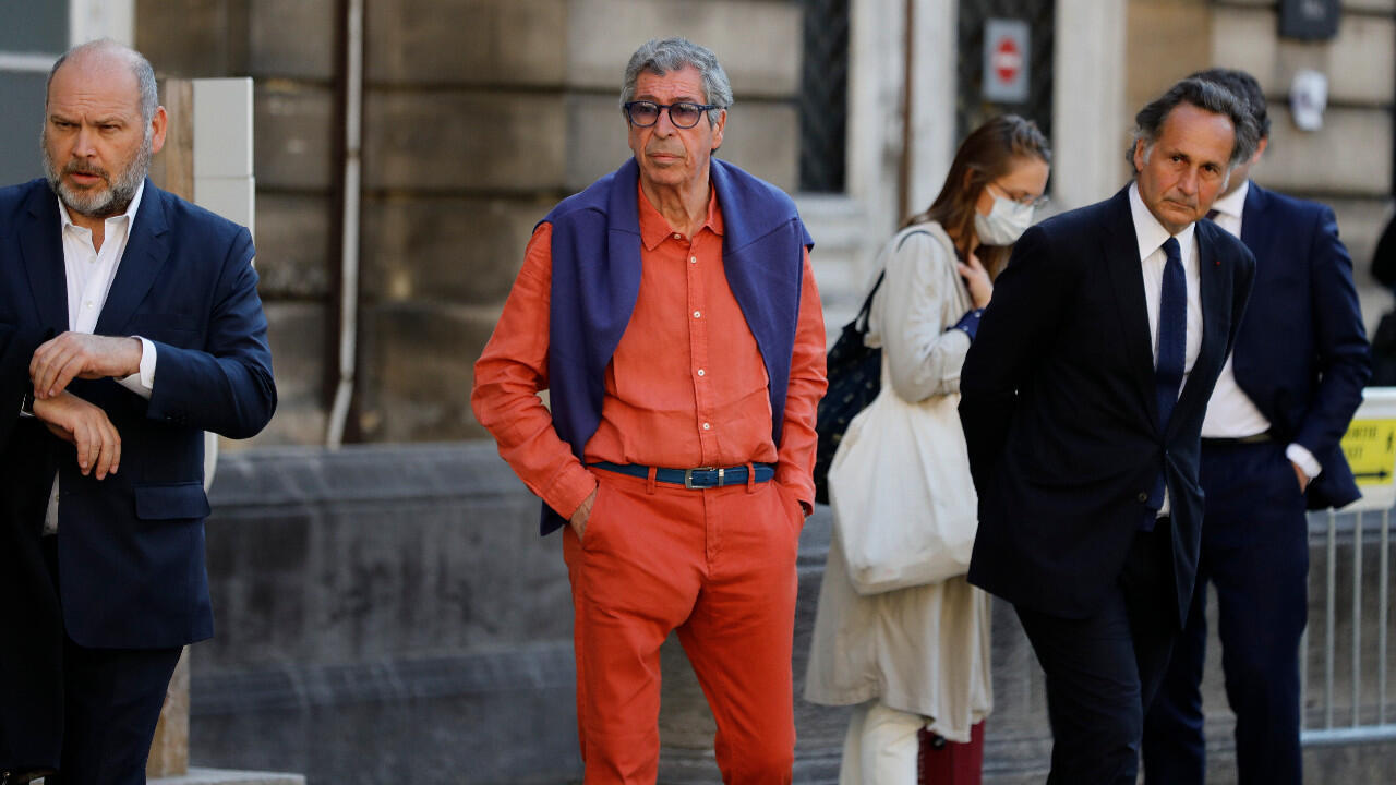 Patrick Balkany (centre) arrives at the Paris Court of Appeal on May 27, 2020.