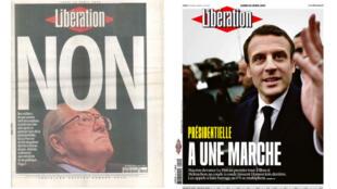 Montage de unes de Liberation du 22 avril 2002 et du 24 avril 2017.