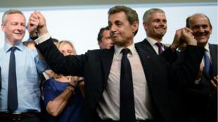 """Le président des """"Républicains"""" Nicolas Sarkozy lors du congrès fondateur de son nouveau parti, le 30 mai 2015."""
