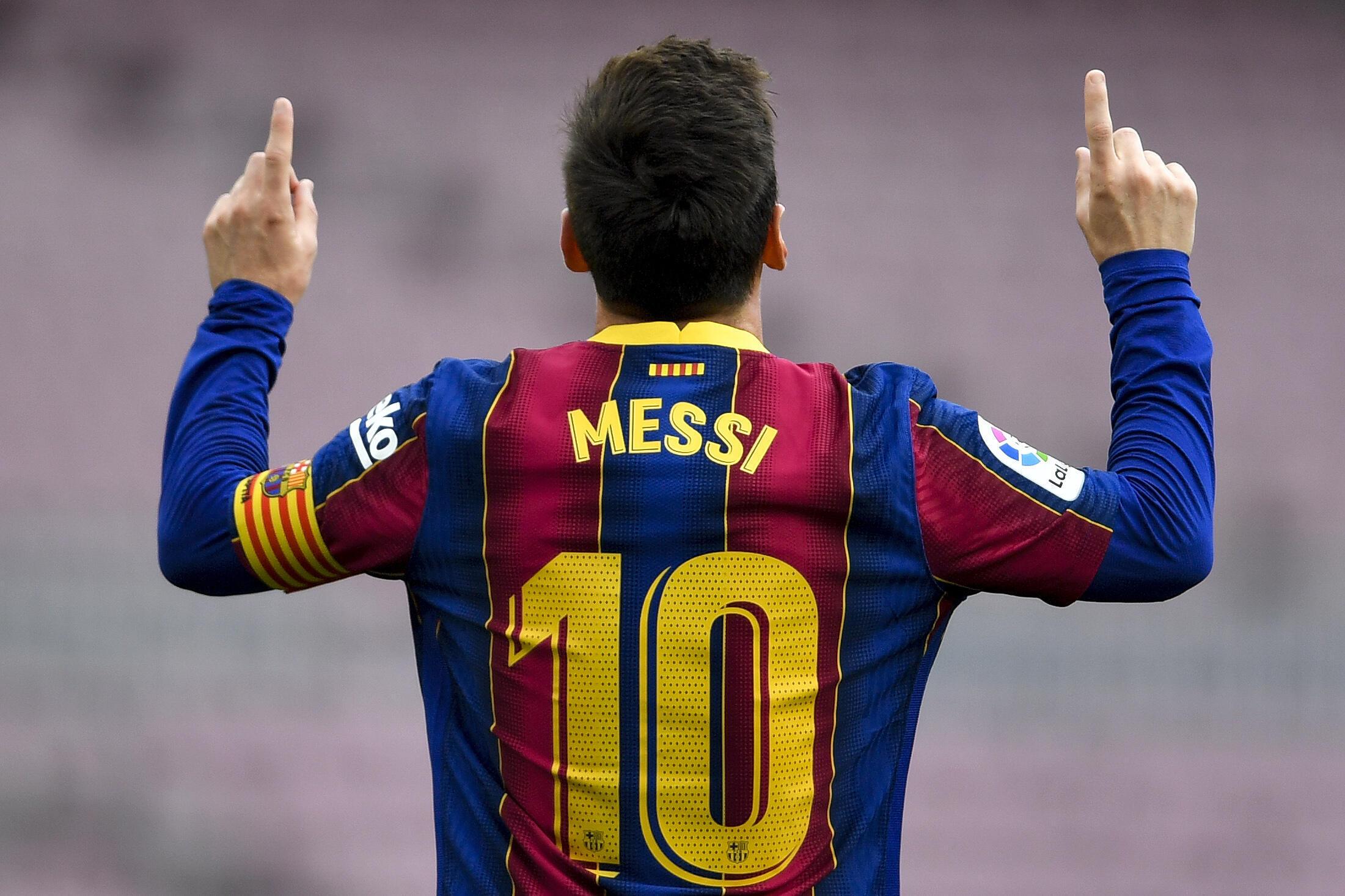 La star argentine du FC Barcelone Lionel Messi buteur contre le Celta Vigo, le 16 mai 2021 au Camp Nou à Barcelone