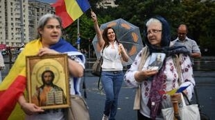 Coronavirus sceptics in Romania protest against the newly adopted 'law of quarantine'