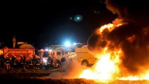 Incendie provoqué par l'explosion d'un oléoduc, le 18 janvier 2019, à Tlahuelilpan, dans le centre du Mexique.