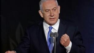 Israeli Prime Minister Benjamin Netanyahu speaks during ceremony at the Defence Ministry in Tel Aviv on January 15, 2019