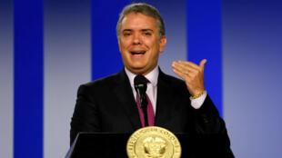 El presidente de Colombia, Iván Duque, en conferencia de prensa.