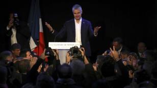 Laurent Wauquiez tout juste élu à la tête des Républicains, le 10 décembre 2017.