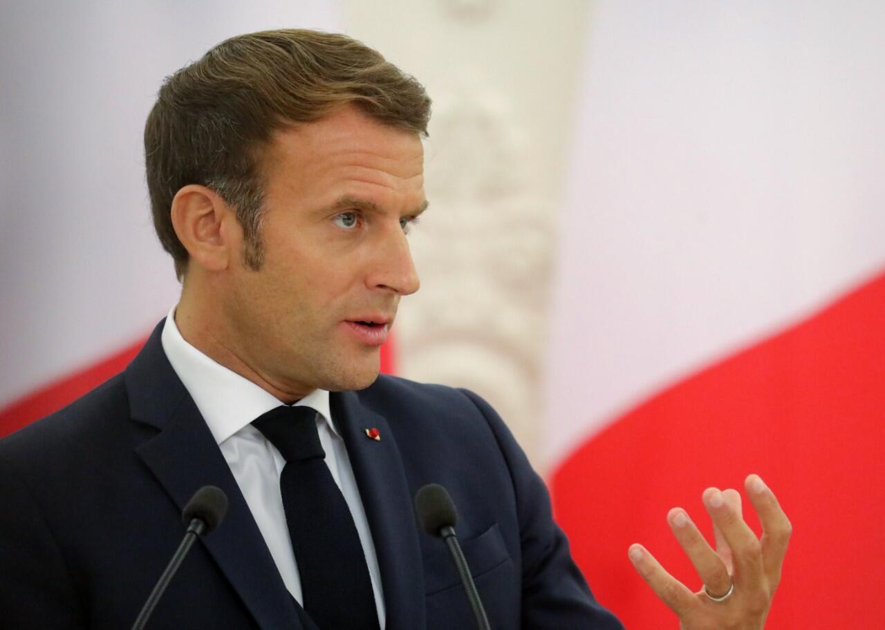El presidente de Francia, Emmanuel Macron, durante su visita en Vilna, Lituania. 28 de septiembre de 2020.