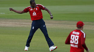 Early strike - England's Jofra Archer celebrates dismissing Australia's David Warner for 0 in the second T20 at Southampton on Sunday