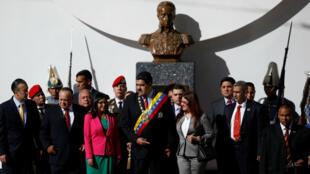 Nicolás Maduro junto a algunos de sus colaboradores más cercanos.