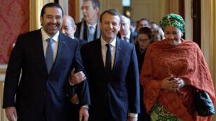 Le Premier ministre libanais Saad Hariri et Emmanuel Macron à la réunion du groupe international de soutien au Liban, le 8 décembre 2017 à Paris.