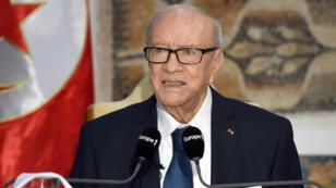 Le président tunisien Béji Caïd Essebsi à une conférence de presse le 22 mars.