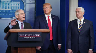 Director of the National Institute of Allergy and Infectious Diseases Anthony Fauci speaks next to US President Donald Trump and Vice President Mike Pence, during a coronavirus briefing on April 22
