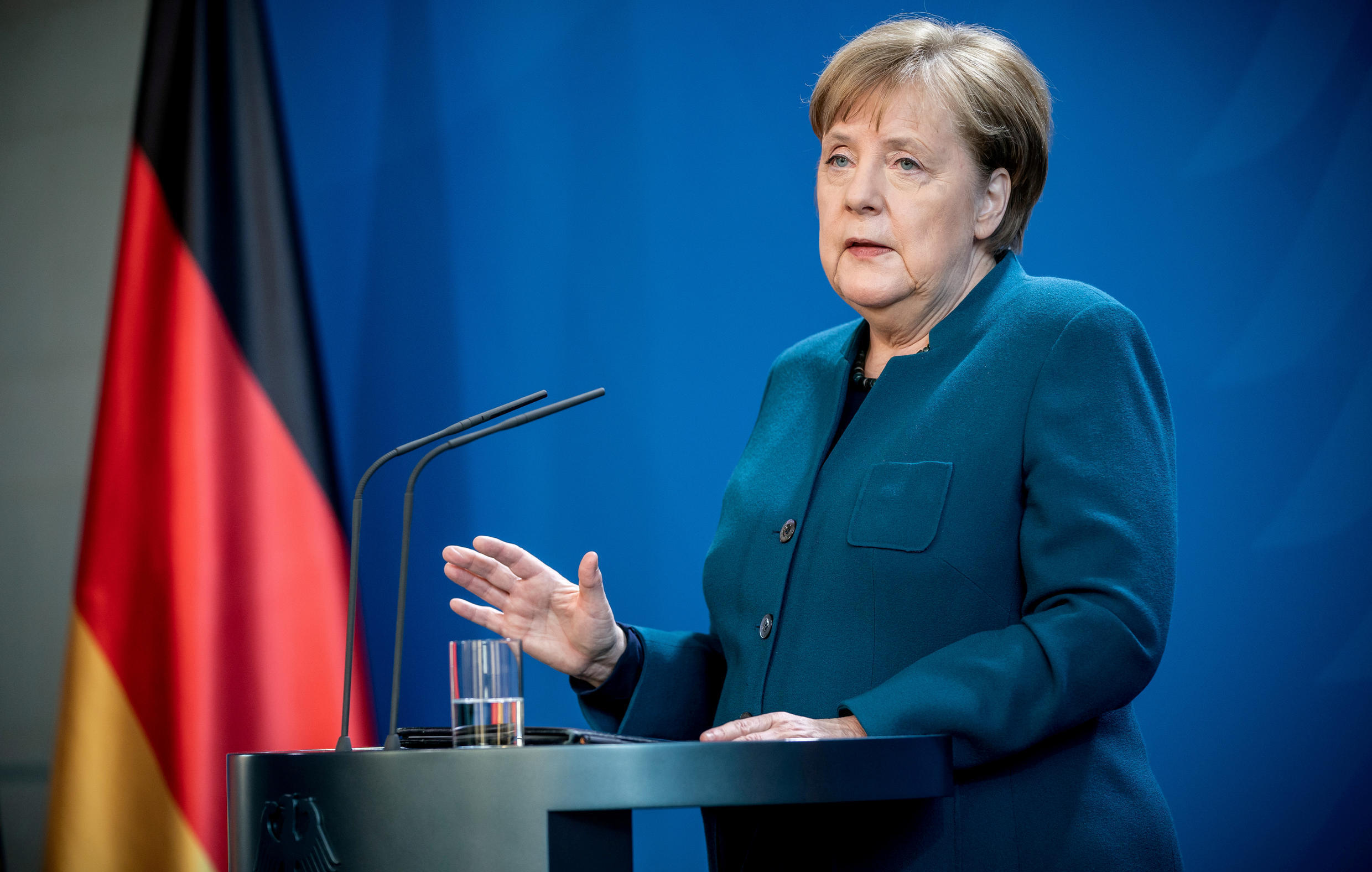 German Chancellor Angela Merkel gives a media statement on the spread of the new coronavirus (COVID-19) at the Chancellery in Berlin, Germany, March 22, 2020.