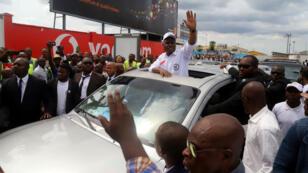 Le candidat de la coalition d'opposition Lamuka, Martin Fayulu, à son arrivée Kinshasa le 21 novembre 2018.
