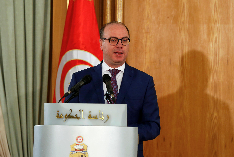 رئيس الوزراء التونسي إلياس الفخفاخ خلال حفل أقيم في تونس في 28 فبراير 2020.