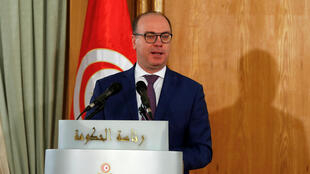 In this file photo, Tunisia's Prime Minister Elyes Fakhfakh speaks during a handover ceremony in Tunis, Tunisia on February 28, 2020.