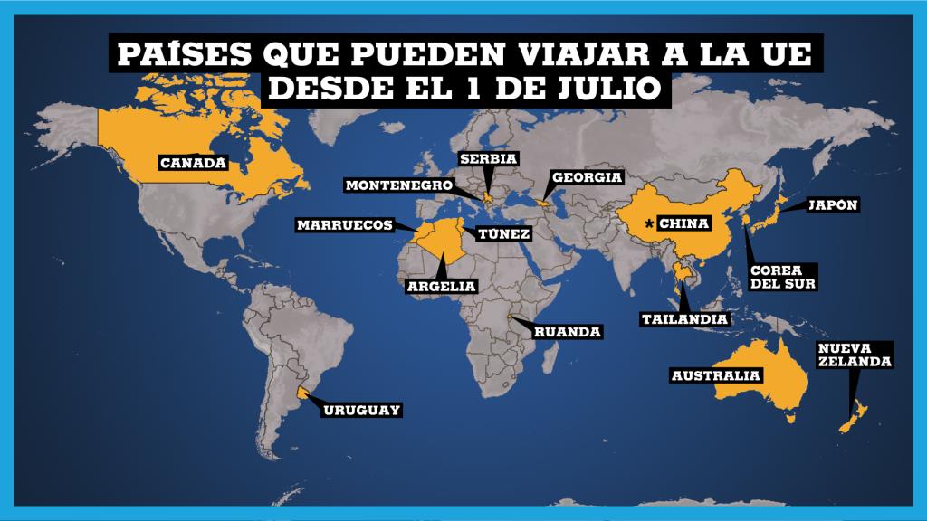 La UE aprueba lista de 15 países que pueden viajar a su territorio en medio de la pandemia.