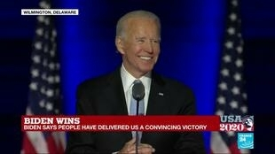 2020-11-08 02:38 REPLAY: US President-elect Joe Biden vows to unite America after 'convincing' victory