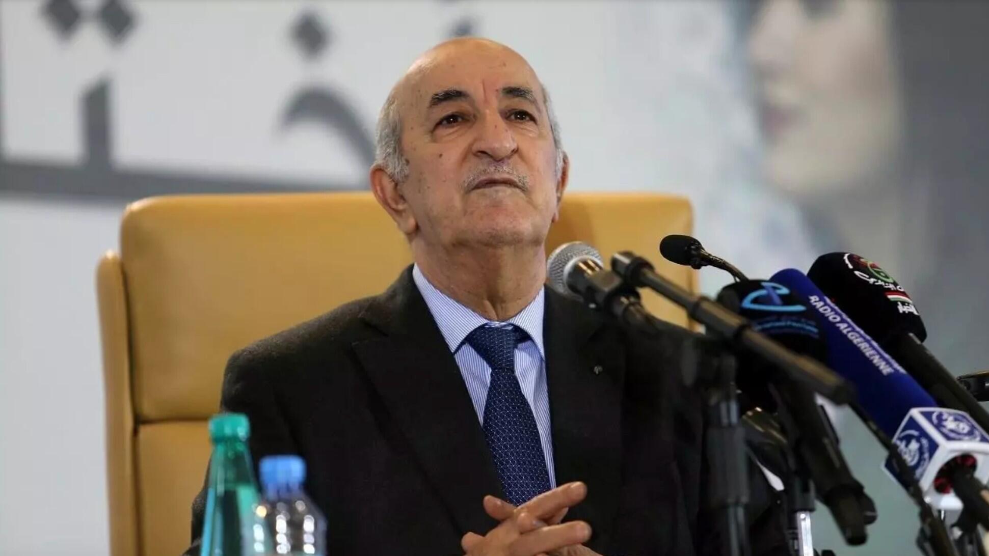 El presidente argelino Abdelmadjid Tebboune durante una conferencia de prensa en Argel, el 13 de diciembre de 2019.