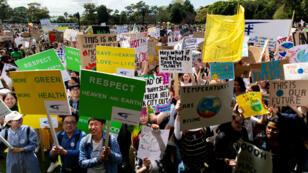 Miles de jóvenes participan en Sidney en la multitudinaria protesta contra el cambio climático. 20 de septiembre de 2019.