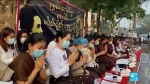 2021-02-26 11:09 Coup d'État en Birmanie : tensions à Rangoun où la police disperse une manifestation