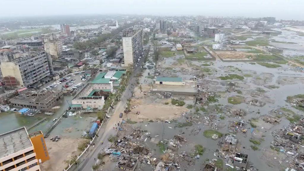 Una vista general del daño causado por el ciclón Idai, tomada desde un avión no tripulado el 18 de marzo de 2019.