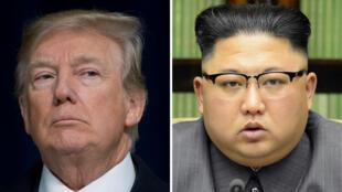 Le président américain Donald Trump et le leader nord-coréen Kim Jong-un sur un écran de télévision à Séoul, en Corée du Sud, le 24 mai 2018.