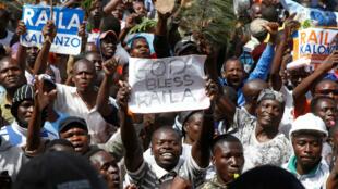 Simpatizantes de la oposición keniana se congregaron en Nairobi para presenciar la investidura de Raila Odinga. 30 de enero de 2018.
