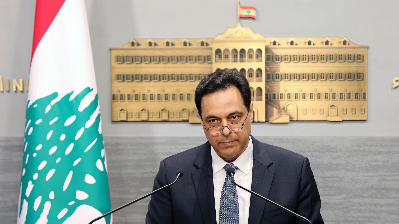Archivo: En esta foto publicada por el Gobierno libanés, el primer ministro libanés Hassan Diab, pronuncia un discurso en la Casa de Gobierno en Beirut, Líbano, el 7 de marzo de 2020.