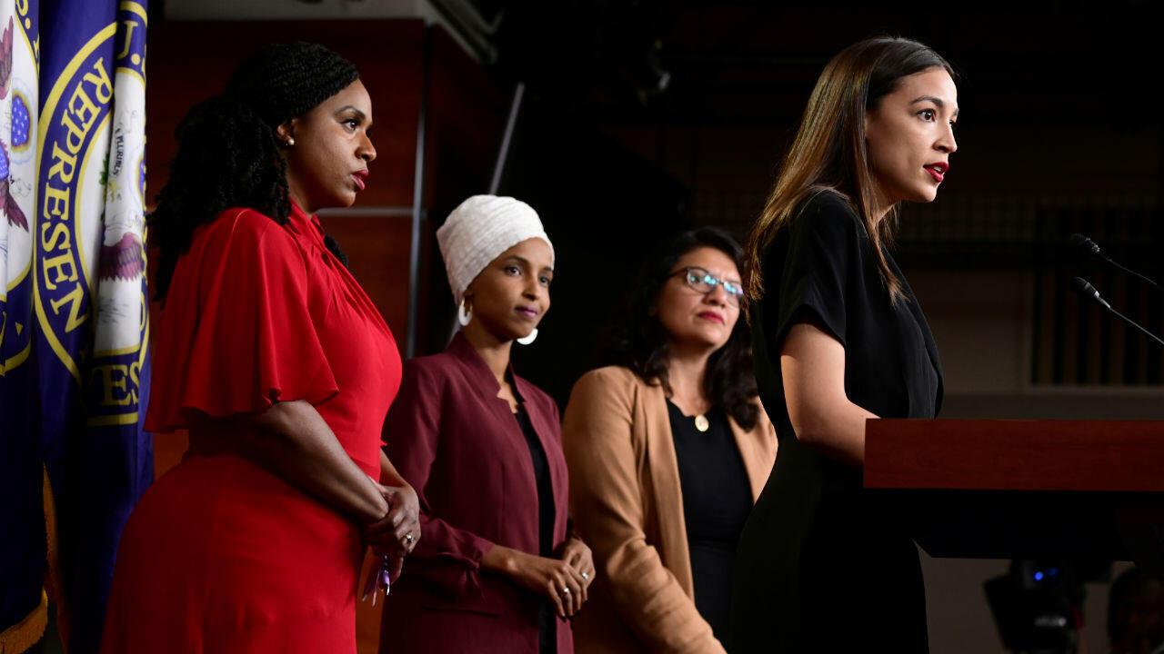 Ocasio-Cortez, Omar, Pressley y Tlaib son las cuatro congresistas demócratas que fueron atacadas por el presidente Donald Trump en Twitter.15 de julio de 2019.