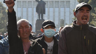 A crowd of Japarov supporters protested in central Bishkek against the appointment of a new parliarmentary speaker
