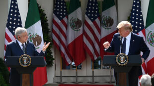 US President Donald Trump and Mexican counterpart Andres Manuel Lopez Obrador hold a joint press conference in the Rose Garden at the White House July 2020