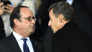 Les anciens présidents François Hollande et Nicolas Sarkozy, photographiés en 2017.