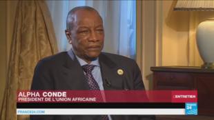 Le président Alpha Condé lors de l'entretien à France 24, le 13 avril 2017.