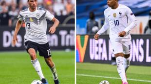 Combo réalisé le 13 juin 2021 avec une photo de Thomas Müller à Leverkusen le 8 juin 2018 et une autre de Kylian Mbappé à Solna le 5 septembre 2020