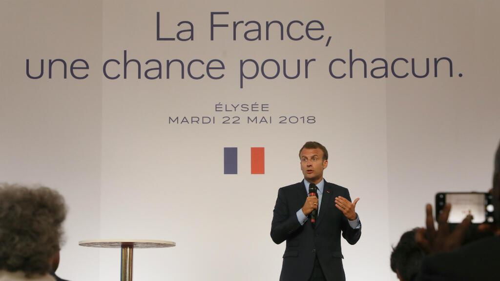 Emmanuel Macron, le 22 mai 2018, lors de son discours sur les banlieues à l'Élysée.