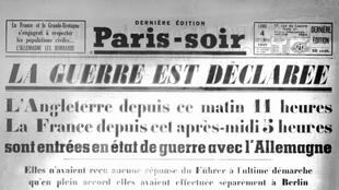 Photo de la une du journal Paris-soir, annonçant la déclaration de la Seconde Guerre mondiale, le 4 septembre 1939.