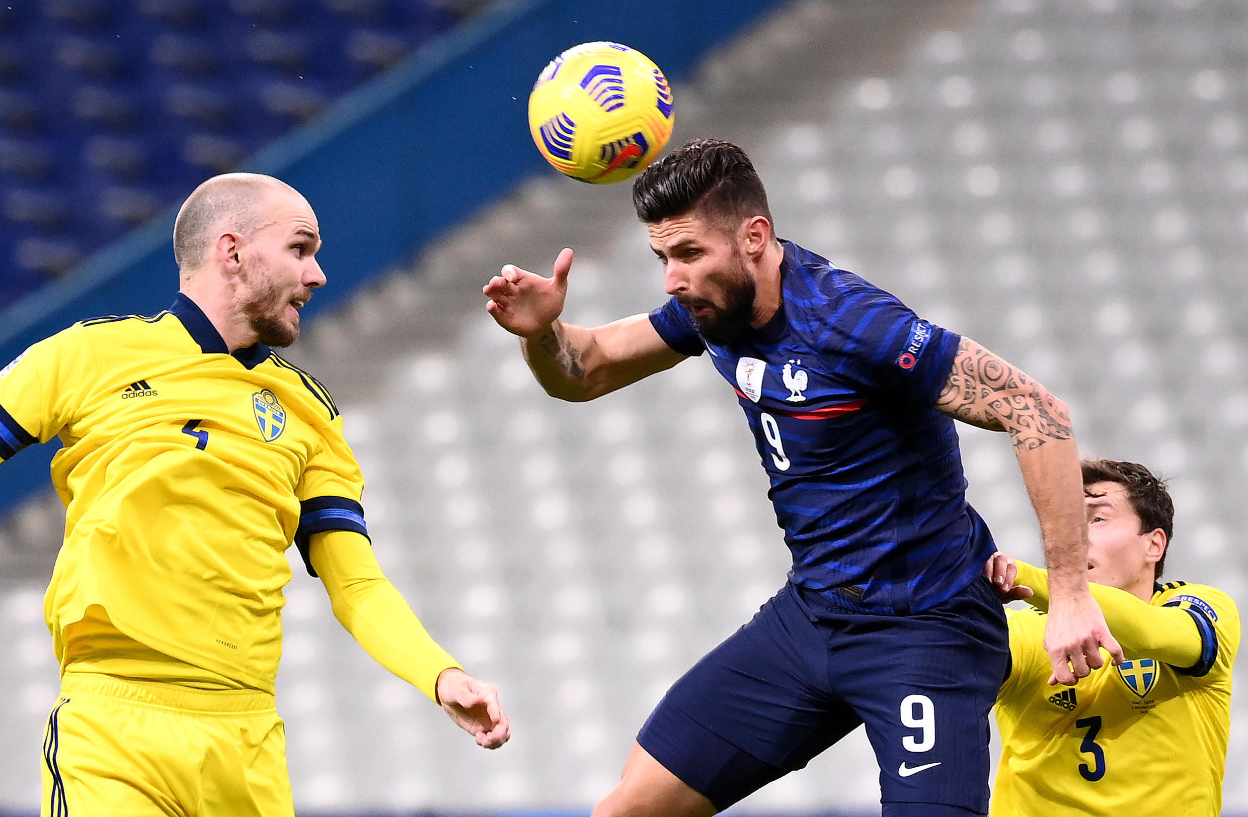 Olivier Giroud scored twice as France beat Sweden 4-2 in the Nations League