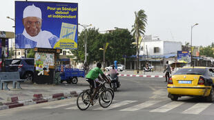 Une affiche électorale d'Abdoulaye Wade, dans les rues de Dakar, le 9 juillet 2017.