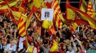متظاهرون مؤيدون للبقاء ضمن مملكة اسبانيا يتظاهرون في برشلونة في 29 تشرين الاول/اكتوبر 2017