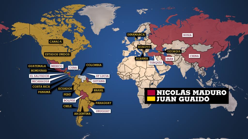 Infografía que muestra los países según su apoyo a Nicolás Maduro o a Juan Guaidó