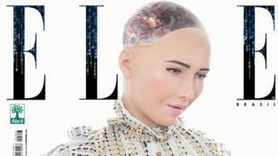 Sophia, le robot de Hanson Robotics, en couverture du numéro du 28 décembre 2016 du magazine Elle Brasil.
