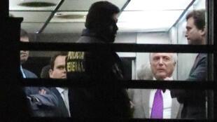 El expresidente de Brasil, Michel Temer, a la salida de la sede de la Policía Federal. Río de Janeiro, Brasil, el 25 de marzo de 2019.