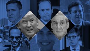 De gauche à droite en partant du haut : Michael Flynn, Rick Gates, Paul Manafort, George Papadopoulos, Richard Pinedo, Alex van der Zwaan.