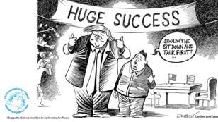 """Au-dessus de la banderole sur laquelle est écrit """"Énorme succès"""", Kim Jong-un interroge : """"On ne devrait pas plutôt s'asseoir et se parler d'abord ?"""""""